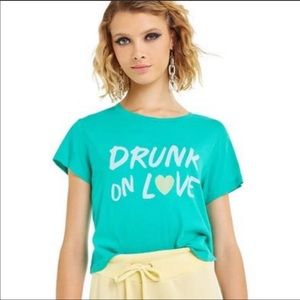 NWT Wildfox Drunk on Love Cropped Graphic Tee